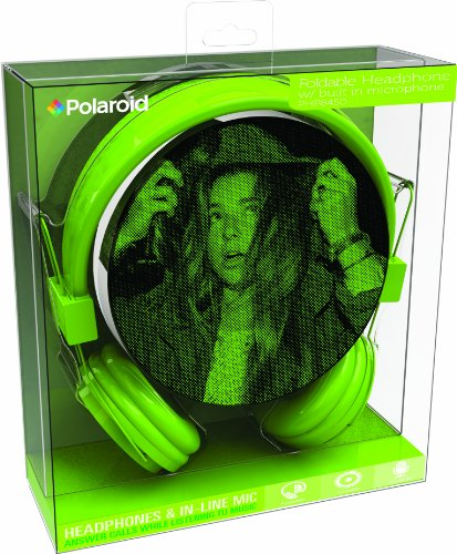 Polaroid Php8450Gr Headphone With Mic For Iphone, Galaxy, Ipad & Android Green