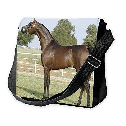 Cavalli 10013, Cavallo Marrone, Unisex Nero Sublimazione Borsa a tracolla Reporter Bag con Spallacci regolabili e Motivo Colorato.Dimensione:Grande-28x28x11cm