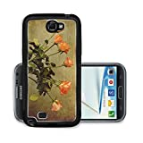Liili Premium Samsung Galaxy Note 2 Aluminum Backplate Bumper Snap Case IMAGE ID 33235508 Vintage bouquet of orange roses in a glass vase on a wooden table
