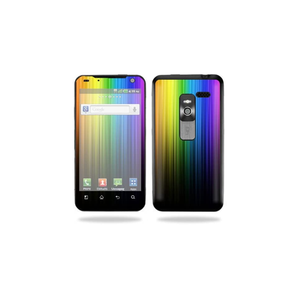 Mightyskins Protective Vinyl Skin Decal Cover for LG Esteem 4G Metro PCS Cell Phone wrap sticker skins Rainbow Streaks