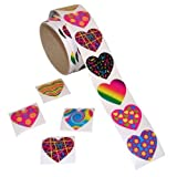 Fun Express Funky Heart Roll Stickers (100 Piece)