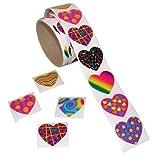 Funky Heart Roll Stickers 100 pc