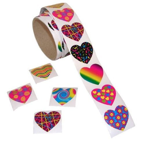 Fun Express Funky Heart Roll Stickers (100 Piece) - 1