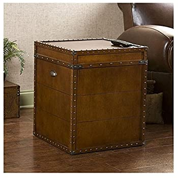 Accent Antique Rectangle Steamer Walnut Finish Trunk End Table