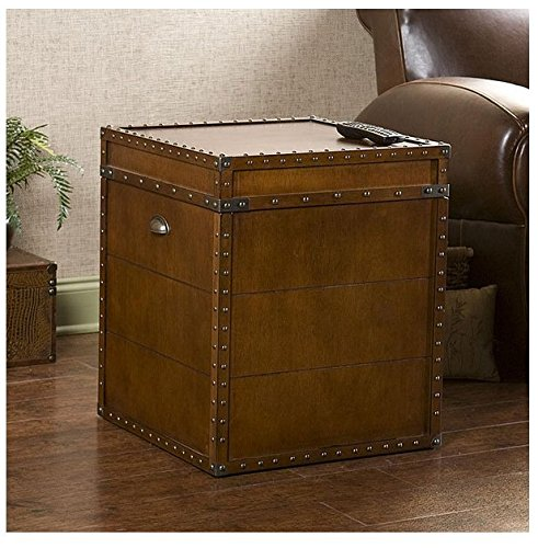 Accent Antique Rectangle Steamer Walnut Finish Trunk End Table 0