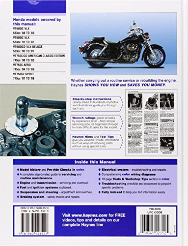 Honda Shadow VT 600 Service Manual 1988 – 2009