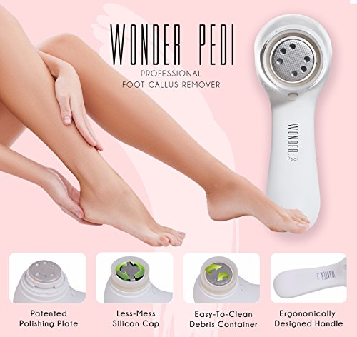 Electric Callus Remover Most Effective Electronic Foot File to Shave Hard Cracked and Dead Skin- Professional Pedicure Tool for Foot Care by Wonder Pedi (Electric Callus Remover Machine compare prices)