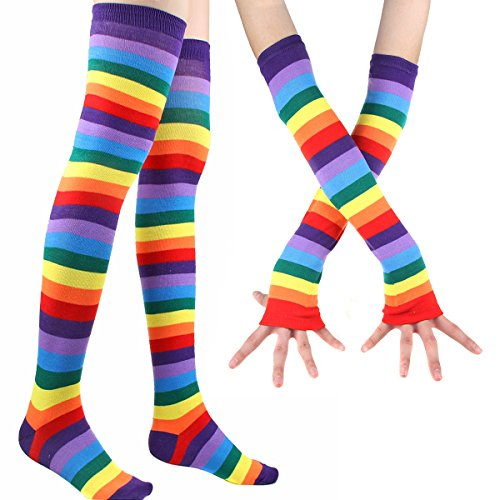 2-pairs-colorful-rainbow-stripe-long-knit-gloves-socks-set-party-accessory
