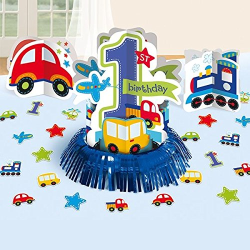 Amscan All Aboard Boy 1st Birthday Table Decorating Kit, Large, Blue