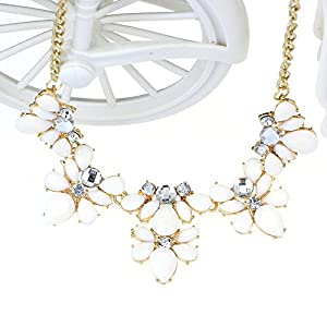 Changeshopping Fashion 1PC Bohemia Water Drop Style Flower Bib Chunky Statement Necklace (Beige)