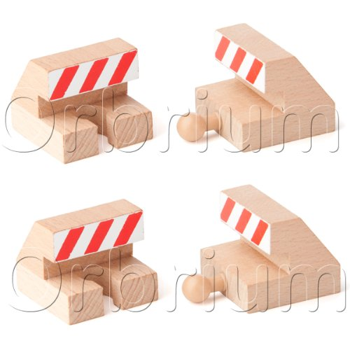 Orbrium Toys Track End Bumper Buffer Stop Set Wooden Railway Fits Thomas Brio Chuggington Melissa Doug Imaginarium (4-Piece)