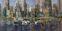 48W x 24H City Bay by Michael Longo - Stretched Canvas w/ BRUSHSTROKES