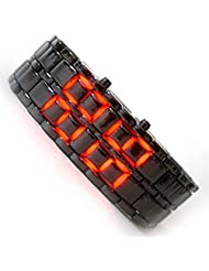 AINFOTECH RED LED Black Samurai Steel Red LED Digital Watch Cum Bracelet For Mens & Women ...