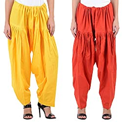 Numbrave Women's Yellow-Red Cotton Full Patiala Salwar (Combo of 2)