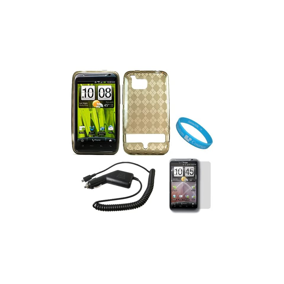 Smoke Argyle Rubberzied TPU Silicone Skin Cover Case for Verizon Wireless NEW HTC Thunderbolt 4G HD ADR6400 + Clear Screen Protector + Black Rapid Car Charger with IC Chip + SumacLife TM Wisdom Courage Wristband