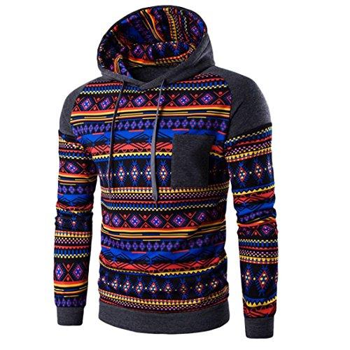 con cappuccio da uomo, FEITONG Boemia retrò manica lunga con cappuccio Top felpa giacca cappotto outwear (XL, Grigio scuro)