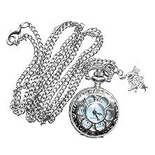 buy Alice In Wonderland Tea Party Steampunk Pocket Watch Necklace-Pw2