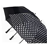 "38"" Fiberglass Golf Umbrella - 60"" Vented Canopy - Auto Open by Totes (Black with Large White Dots) ~ Totes"