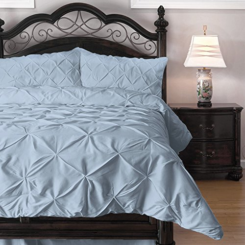 Pinch Pleat Comforter Set - 2-Piece - by ExceptionalSheets, Twin, Light Blue (PinchComf_TW_LB) (Twin Light Blue Bedding compare prices)