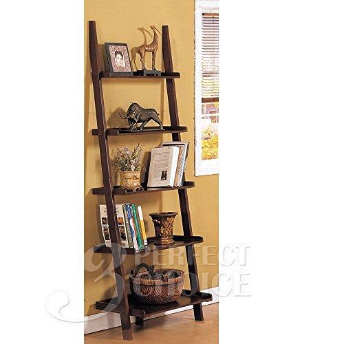 Poundex Leaning Bookcase Bookshelf, Dark Espresso Brown