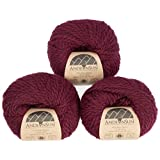 100% Baby Alpaca Yarn (Weight #5) Bulky, Chunky, Craft - Set of 3 Skeins 150 Grams Total- Luxurious and Caring Soft for Knitting and Crocheting - Burgundy #5 Bulky (Color: Burgundy, Tamaño: #5 Bulky)
