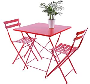 Outsunny 3 pc Outdoor Patio Furniture Bistro Dining Chair & Table Set - Red from Outsunny