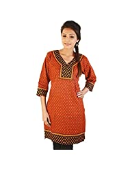 Jaipur RagaEthnic Girls Hand Block Print Red Cotton Kurti Woman Cotton Kurti
