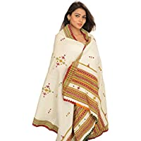Exotic India Shawl from Kutch with Embroidered Bootis and Mirrors - Color CreamColor Free Size