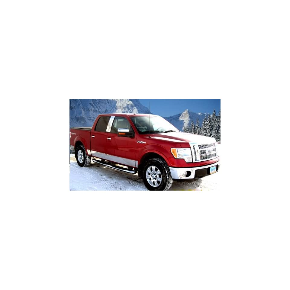 Made In USA 09 14 Ford F 150 Crew Cab Long Bed With Fender Flare Rocker Panel Chrome Stainless Steel Body Side Moulding Molding Trim Cover 7 Wide 12PC