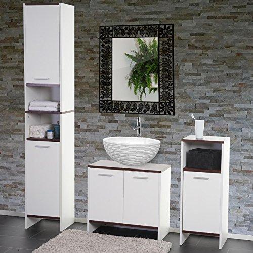Arredo bagno serie Arezzo set sottolavabo+mobile alto+mobiletto ~ bianco-marrone