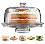Elegant 6 in 1 Cake Plate Features a Cake Plate with Dome, Punch Bowl, Divided Appetizer Platter, Party Glassware Set