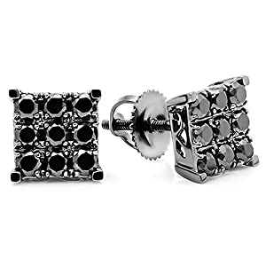 1.00 Carat (ctw) 10k White Gold Round Black Diamond Square Shaped Stud Earrings