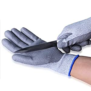 Cut Resistant Gloves Safety Protective En388 Cut Level 5 Protection Pu Coating Anti