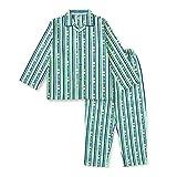 【ノーブランド品】 綿100% 長袖 キッズ パジャマ 春 秋 向け ストライプ柄 ボーイズ 110サイズ グリーン
