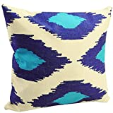 "BENFAN Cotton Linen Square Decorative Throw Pillow Case Cushion Cover with Blue geometric 17 ""X17 """