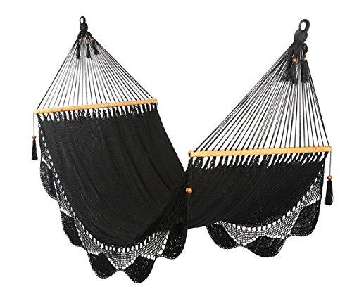 Artisan Handwoven Hammock 13 Ft 2 Person 500 Lbs (Black)