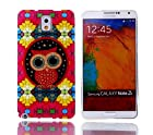YW (TM) Glitter Gold Powder Shimmer Protective Hybrid Impact Armor Slim Defender TPU IMD Gel Soft Hard Case Cover For Samsung Galaxy Note 3 III N9000 with One Piece Random Color Stlye Dress up Sticker Gift - Owl on Colorful Wall
