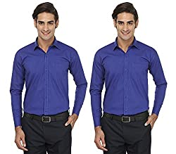 FOCIL Blue Formal Wear Combo Shirt For Men (Pack of 2)