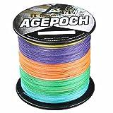 Agepoch 高强度 8ブレード 500M スーパーストロング マルチフィラメント PEライン 釣り糸 1-10号 10-100LB (マルチカラー/五色, 3号/30LB)