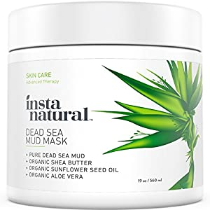 InstaNatural Dead Sea Mud Face Mask - Facial Cleanser, Pore Reducer & Moisturizer - 100% Natural Remedy for Dry & Oily Skin, Acne, Blemishes & Complexion - Reduces Wrinkles, Fine Lines & Aging - 19 OZ
