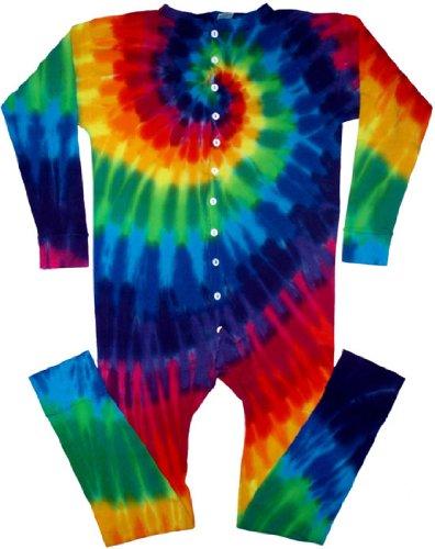 Tie Dyed Shop 12 Color Spiral Tie Dye Union Suit-Medium-Multicolor front-322641