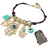 ETSYG 4pcs Hamsa Hand of Fatima Charms Bracelet Black White Red Plastice Rope Bangle