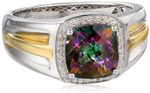 Men'S Sterling Silver With Yellow Gold Plating Mystic Fire Topaz And Diamond (0.1Cttw, I-J Color, I2-I3 Clarity) Ring, Size 10.5