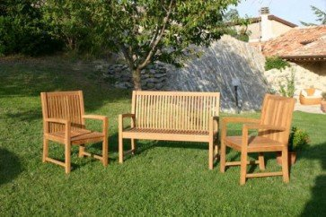 Velmo - Set panca 122 cm + 2 poltrone in teak
