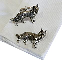 Silver Pewter German Shepherd Dog Cufflinks Handmade in England Cuff Links  from RetailZone