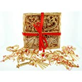 Straw Ornaments Assortment in Basket - 24 pc.