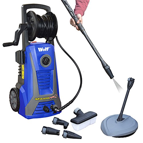 Wolf Sky Blaster Max 2 Pro Power Pressure Washer 2200 Watt 165BAR Pump With New 'Click and Connect' System Plus Accessories Including Patio Cleaner, Car Brush and 5 Metre High Pressure Hose