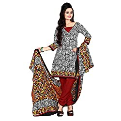 ARAJA FASHION BLACK&MAROON COTTON PRINTED UNSTICHED DRESS MATERIAL
