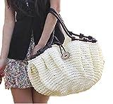 ゆったり カラフル かごバッグ + 花柄 ハンカチ 全7色 ファスナー 内 ポケット 付 (ホワイト)