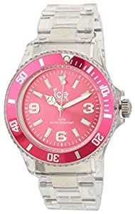ICE-Watch - Montre Mixte - Quartz Analogique - Ice-Pure - Pink - Unisex - Cadran Rose - Bracelet Plastique Transparent - PU.PK.U.P.12